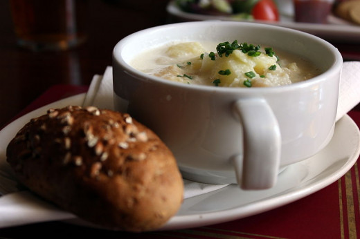 A bowl of cullen skink, served with bread