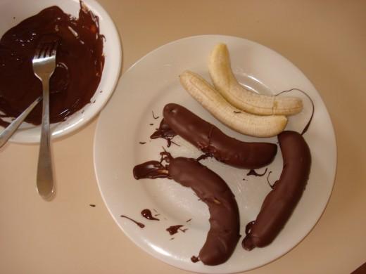 Coat the Frozen Bananas in Chocolate