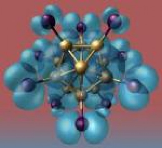 A picture of a cluster of 13 aluminum atoms as a superatom.