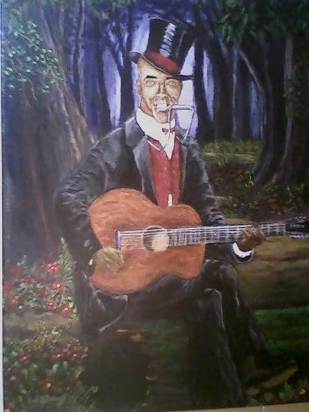 Johnny Watson (AKA Daddy Stovepipe) acrylic on canvas: Wrought by: Rod. B. Rainey