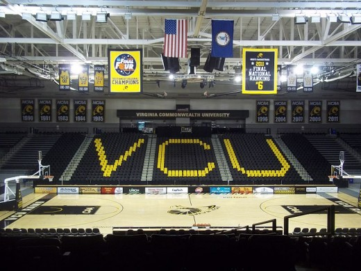 A 2011 Final Four banner hangs in Virginia Commonwealth University Siegel Center, despite VCU ranking 169th of 344 Division I teams in 2011 athletic department revenues.