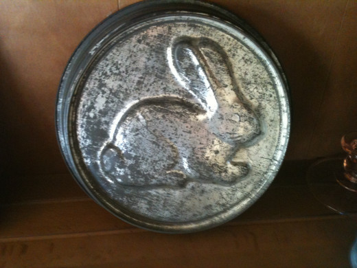 A rare tin rabbit cake mold circa 1930