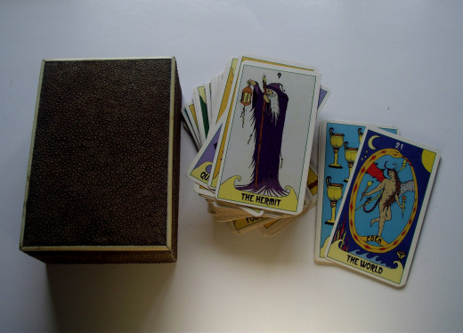 Tarot cards and a storage box.