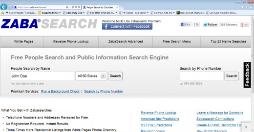 Zabasearch Homepage