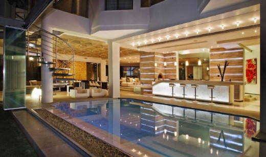 Beautiful indoor swimming room within the living room - Modern Interior Design