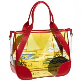 Prada Women's Printed Plastic Tote Bag with Leather Trim, Rosso