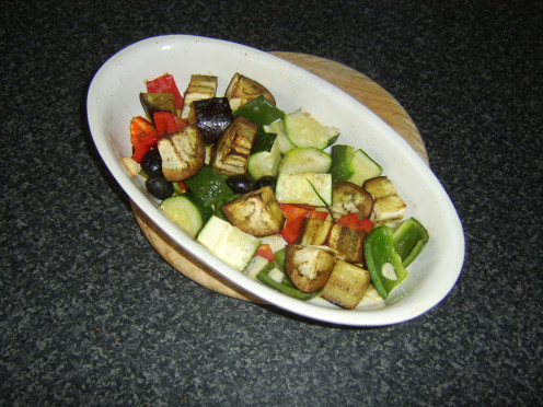 A selection of Mediterranean vegetables roasted with garlic, thyme and olive oil