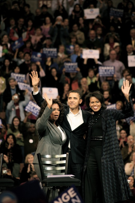 Oprah Winfrey, Barack Obama & Michelle Obama in 2007.