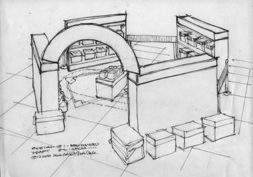 This drawing of an in-store display area had to be imagined or seen in the artist's imagination before it could be drawn on paper.