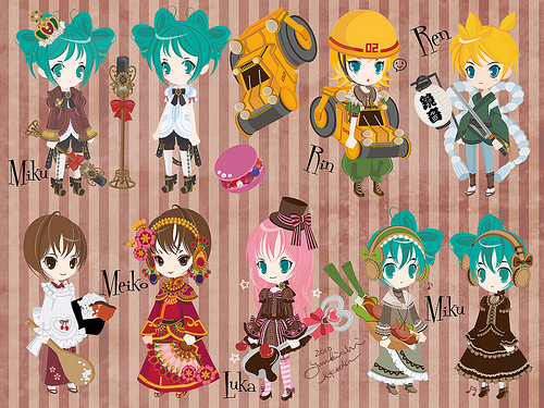 Some Vocaloid Avatars in Anime Form