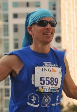 Steve celebrates near the end of his run in Miami.