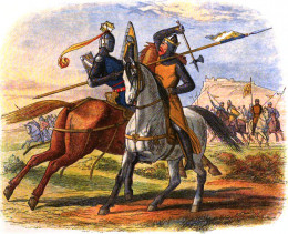 Legend: Robert the Bruce defeating the English in the 1314 battle of Bannockburn.