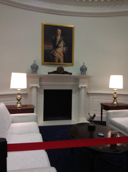 The Fireplace and sitting area of the Oval Office.