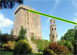 The Blarney Stone is located above the top window.  It is part of the outer edge of the parapet floor.