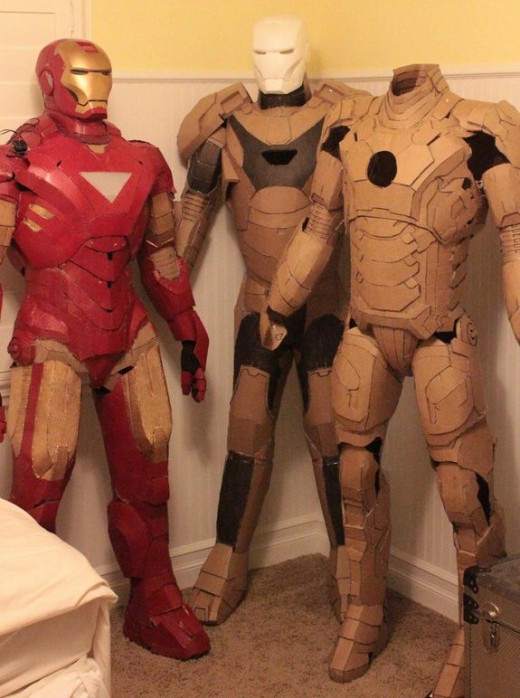 Iron Man suits from cardboard, photo by Royal Dump