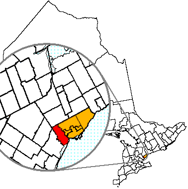 Map location of Etobicoke, Toronto, Ontario