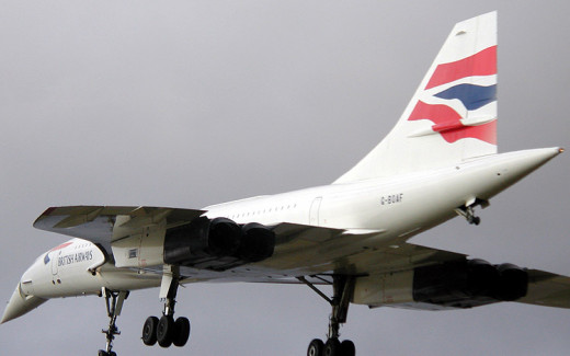 A British Airways Concorde coming in for it's final landing