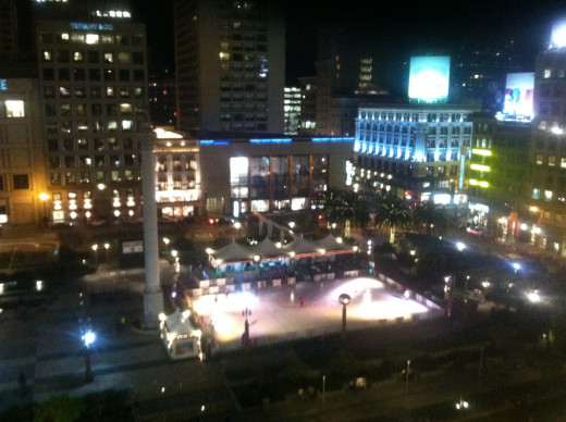View of Union Square and its skating rink from Cheesecake Factory balcony