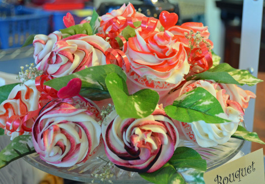 Try a unique cupcake bouquet.  This makes a beautiful centerpiece.