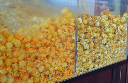 Homemade popcorn in several flavors also available in different sizes.