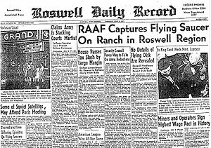 """Roswell Daily Record, July 8, 1947, announcing the """"capture"""" of a """"flying saucer."""""""