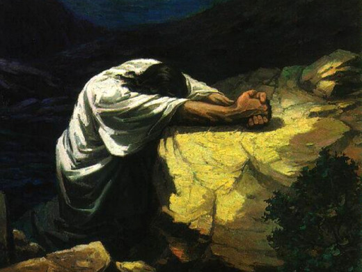 Jesus in the Garden Praying. Not My Will But Thine.