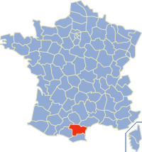 Map location of Aude department, France