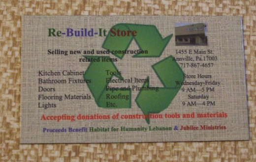 Magnet for the Annville, PA Re-Build-It Store providing address, phone number, and hours.