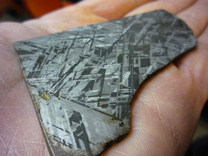 Widmanstätten pattern which can only be seen on iron meteorites when cut and treated with acid