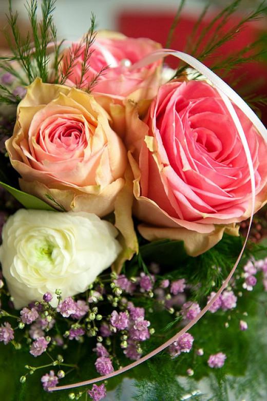 Spring pastel wedding flowers.