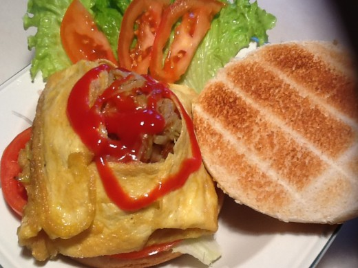 Burger Wrapped in Egg