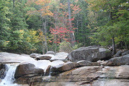 Waterfalls along the Kancamangis Highway in North Conway, NH, in autumn