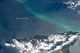 This photograph taken from NASA's Earth Observatory shows the unique phenomenon known as Internal Waves.