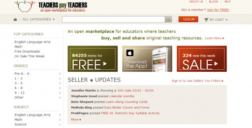 Screen shot from Teachers Pay Teachers site.