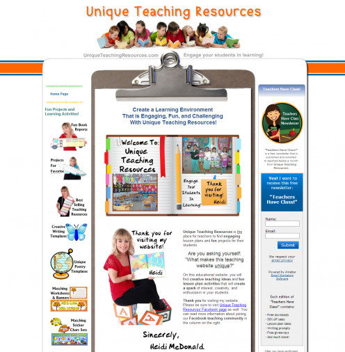 A screenshot of the site, Unique Teaching Resources. This is a very neat site to use!