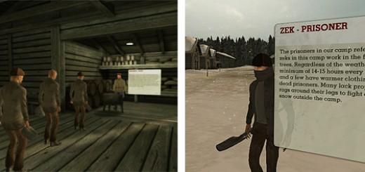"Screenshots from the ""Virtual Gulag"" game world."