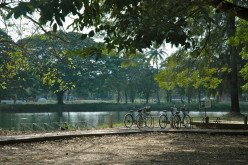 Bicycles by the river - another form of transport