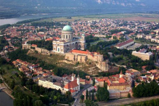 Esztergom in Hungary from the air