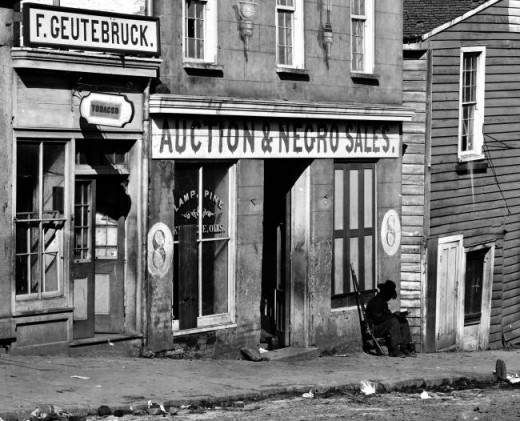 This photo dates from 1863 and shows a slave trader's business in Atlanta, Georgia.