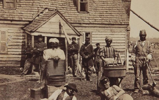 Escaped slaves were placed in camps which followed the Union army and both men and women found work helping the officers and soldiers. However, for many the reality of life away from the plantations was harsh.