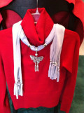 Jewelry on Neck and Scarf Ends