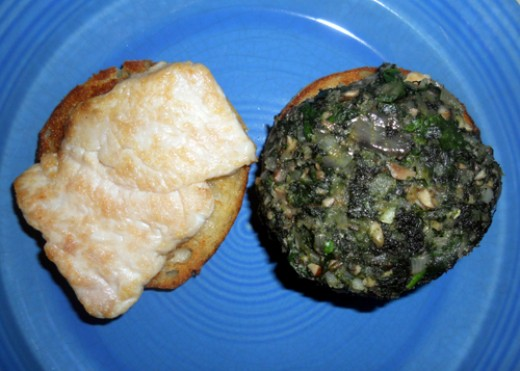 stack order: muffin, turkey, spinach patty, egg & Sauce Mornay. (or not, for you vegetarians out there!)
