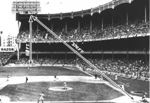 The Mantle homerun at Yankee that almost left the ballpark.
