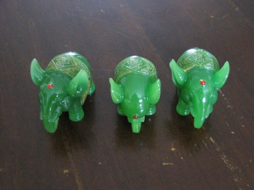 Three cute green elephants for my relatives