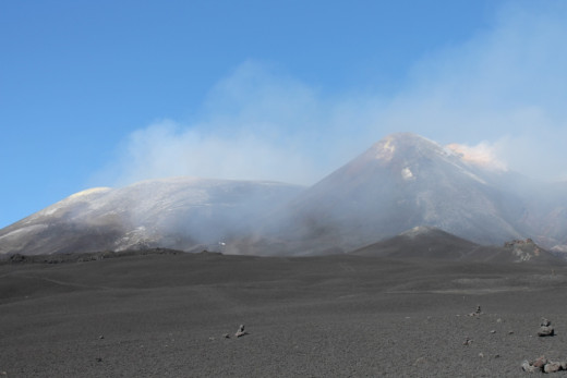 The active crater at the top of Mount Etna, Sicily.