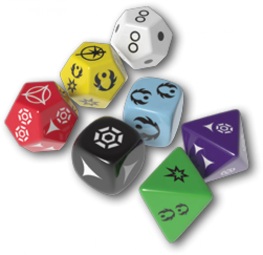 Some of the dice included with the game