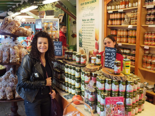 Lucy was my tour guide to this amazing food stand in Munich! She's shy!