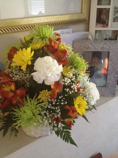 People often receive flowers as a gesture of support to offer condolence after the loss of a loved one.