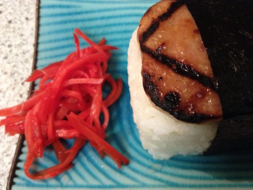 spam musubi and pickled ginger - yum.