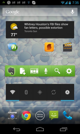 A screen shot of one my screens on my Android phone that has a widget for news and weather, Evernote and the important settings for the phone.  Quick access to these widgets help me get the job done faster.  I also have a widget for recent contacts.